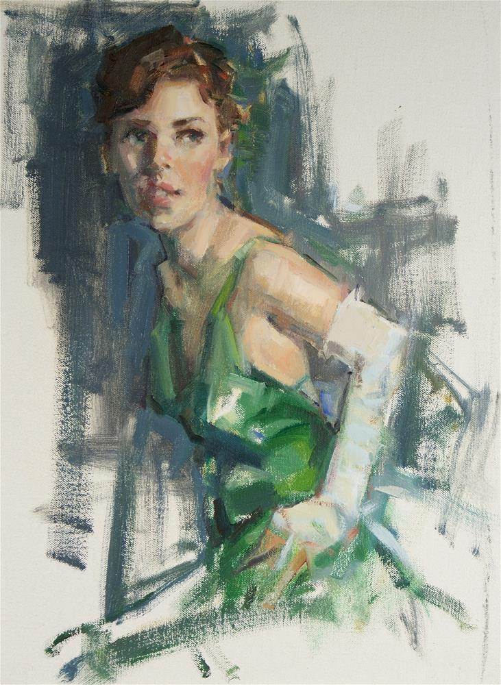 """Lady with Green Dress"" original fine art by Mike Peterson"