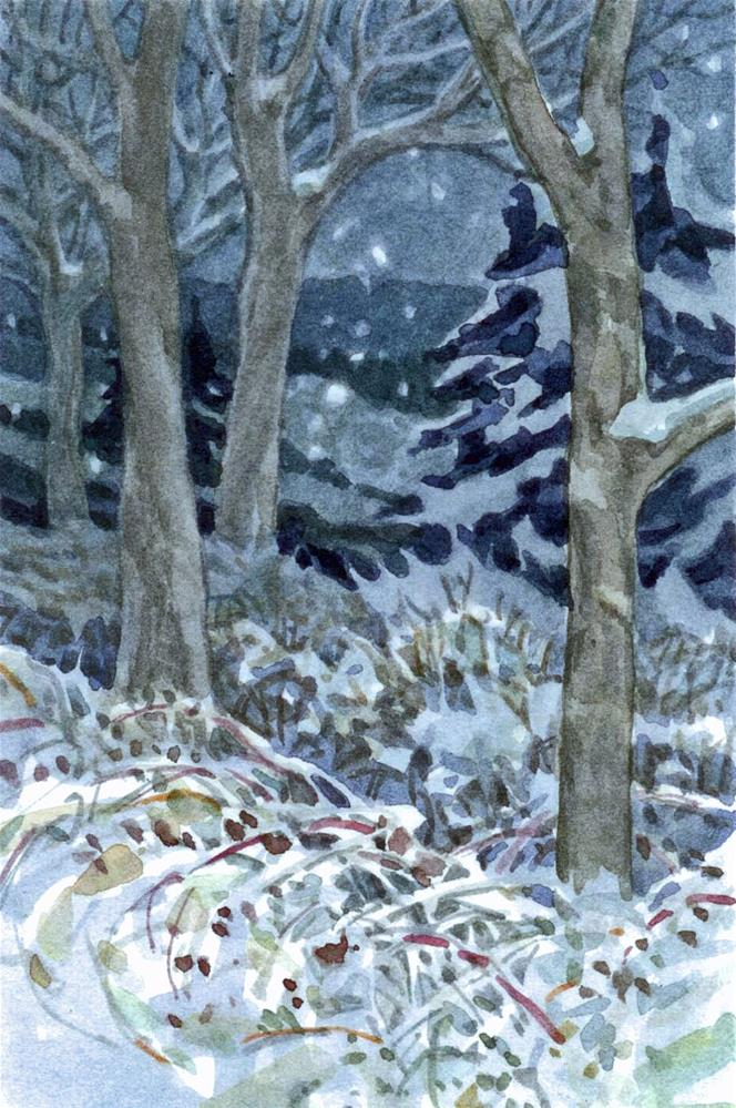 """Night Snow"" original fine art by Nicoletta Baumeister"