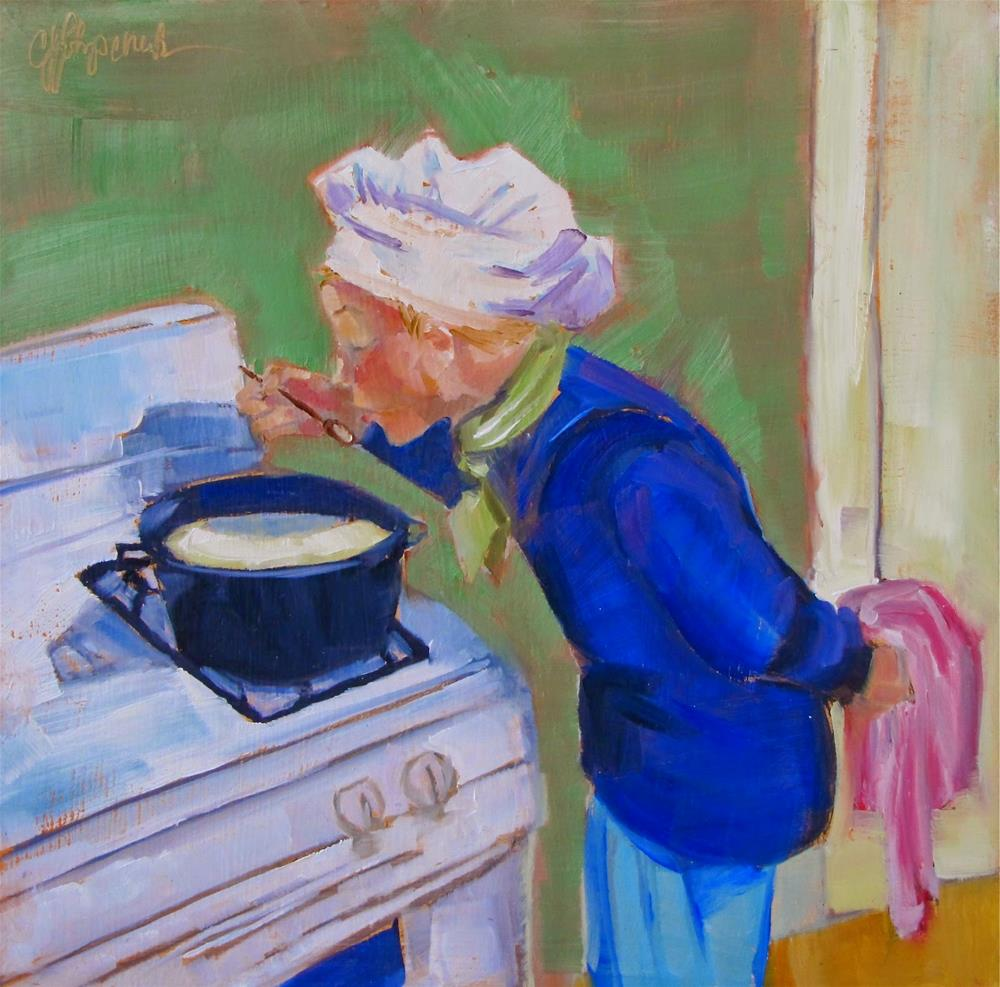 """Tasting the Soup"" original fine art by Christine Holzschuh"