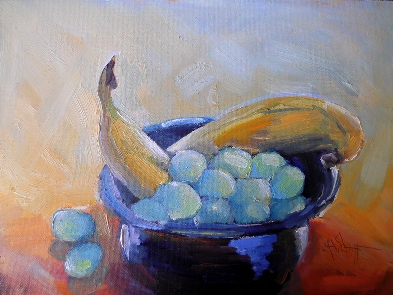 """Fruit  Still Life, Daily Painting, Small Oil Painting, Banana and Grapes by Carol Schiff"" original fine art by Carol Schiff"