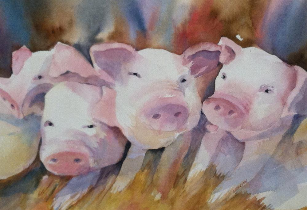 """Pigs"" original fine art by Libby Anderson"