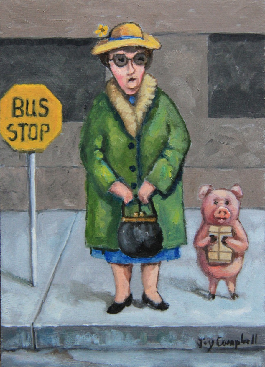 """The Bus Stop"" original fine art by Joy Campbell"