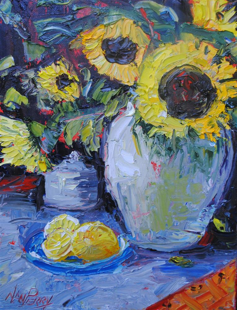 """Sunflowers"" original fine art by Nan Perry"