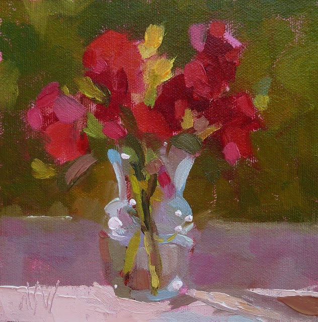 """Red Roses 6x6 Picked these wild roses near my studio and set them on the windowsill to paint."" original fine art by Mary Sheehan Winn"