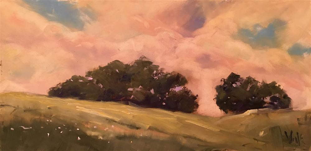 """#390 Evening Pature"" original fine art by Patty Voje"