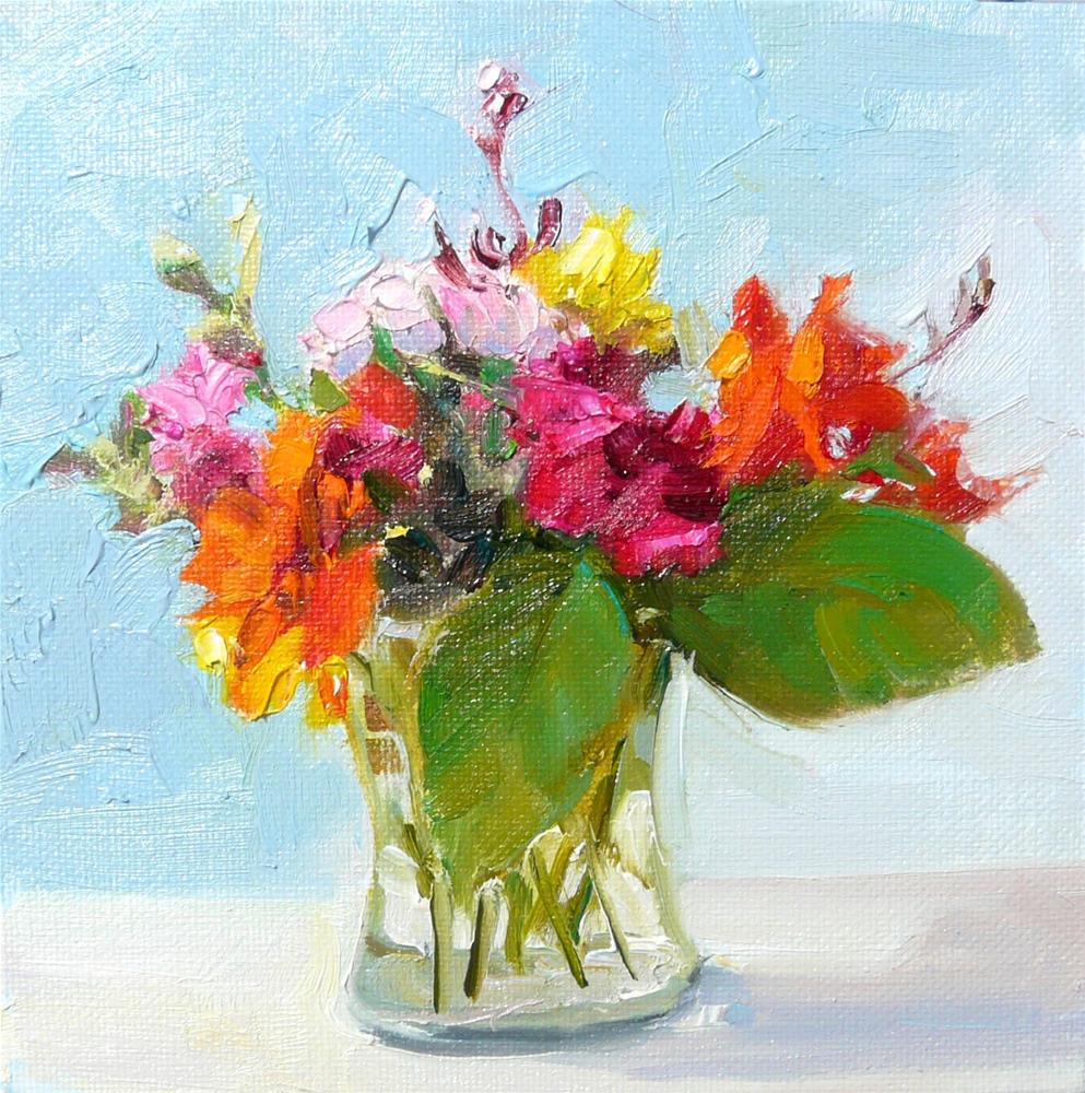 """Retirement Party Bouquet,still life,oil on canvas,6x6,priceNFS"" original fine art by Joy Olney"