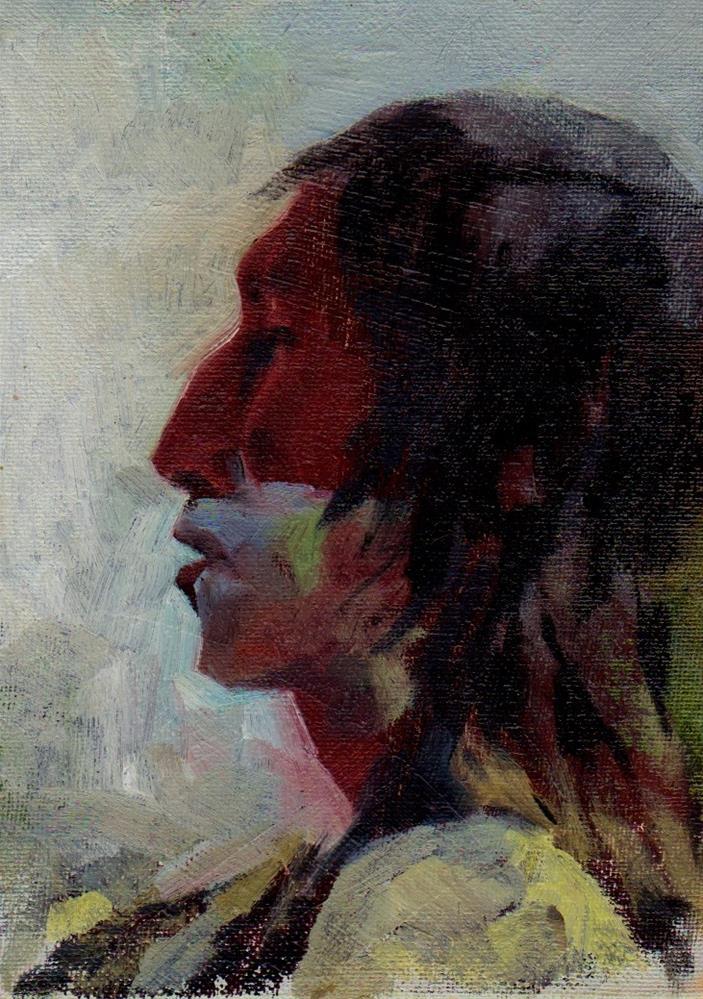 """face #1. redskin"" original fine art by V. DeBak"