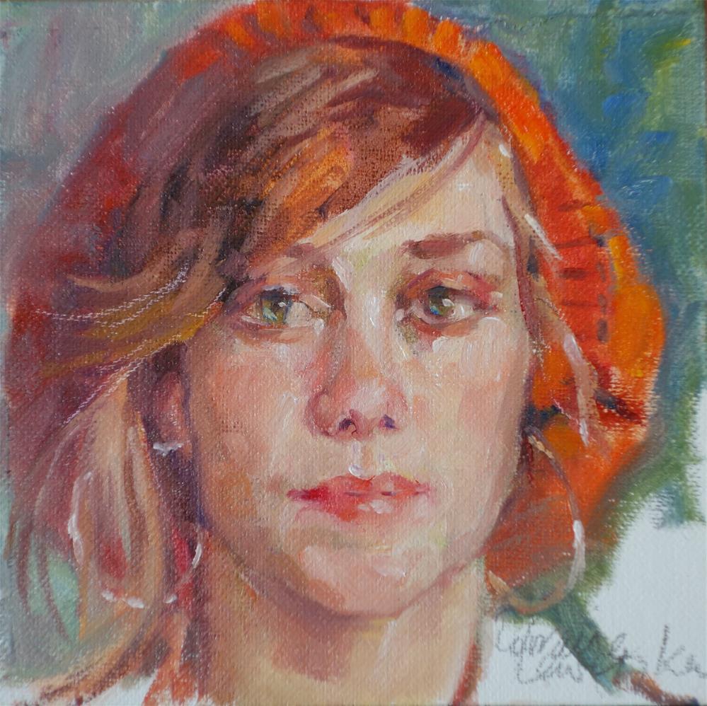 """""""Red Beanie"""" original fine art by Lorraine Lewitzka"""