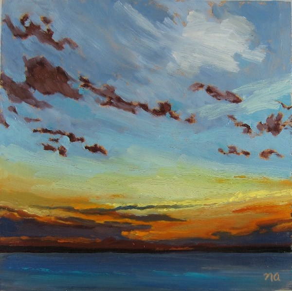 """Clouds and the Setting Sun"" original fine art by Nicki Ault"