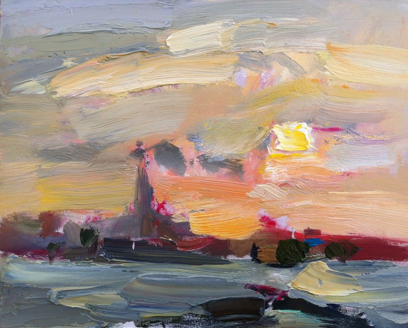 """Dreamy Cloudy Sunrise"" original fine art by Anna  Fine Art"