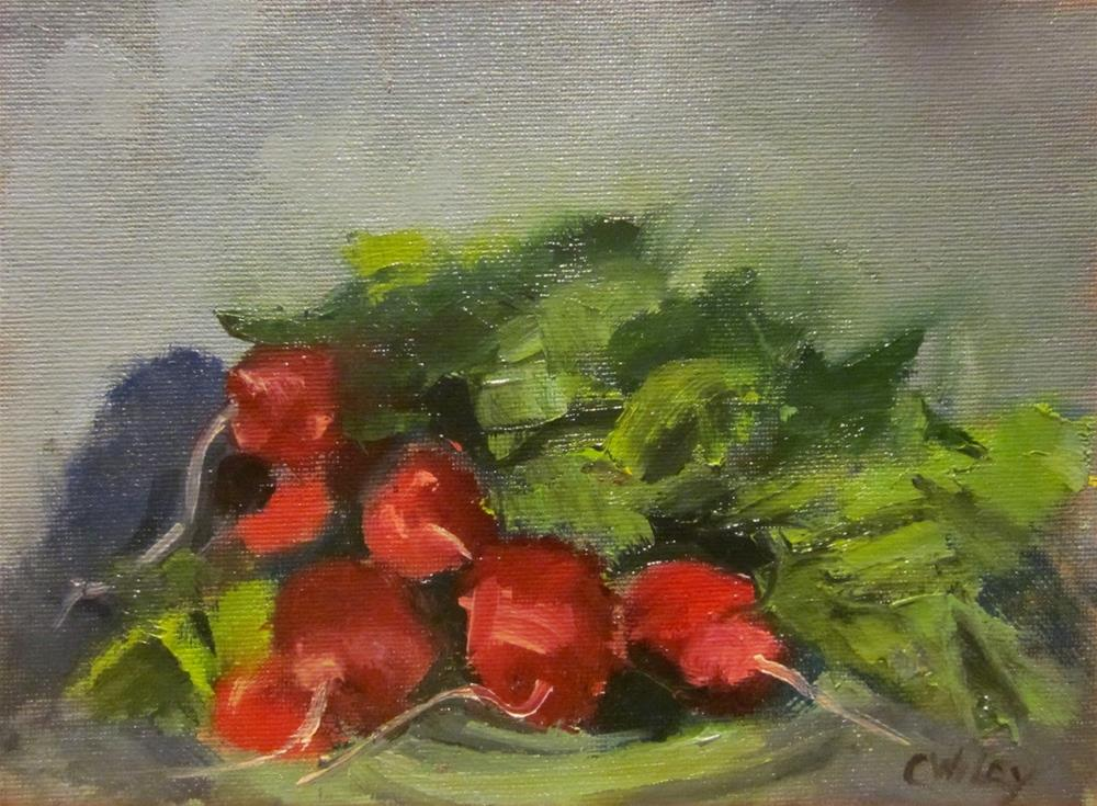 """Radishes On Green Plate"" original fine art by Carol Wiley"