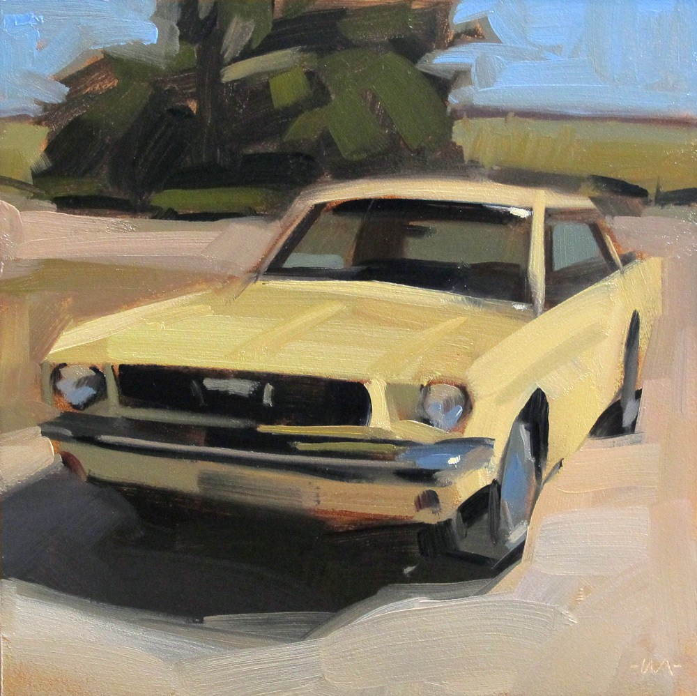 """Yellow Mustang"" original fine art by Carol Marine"