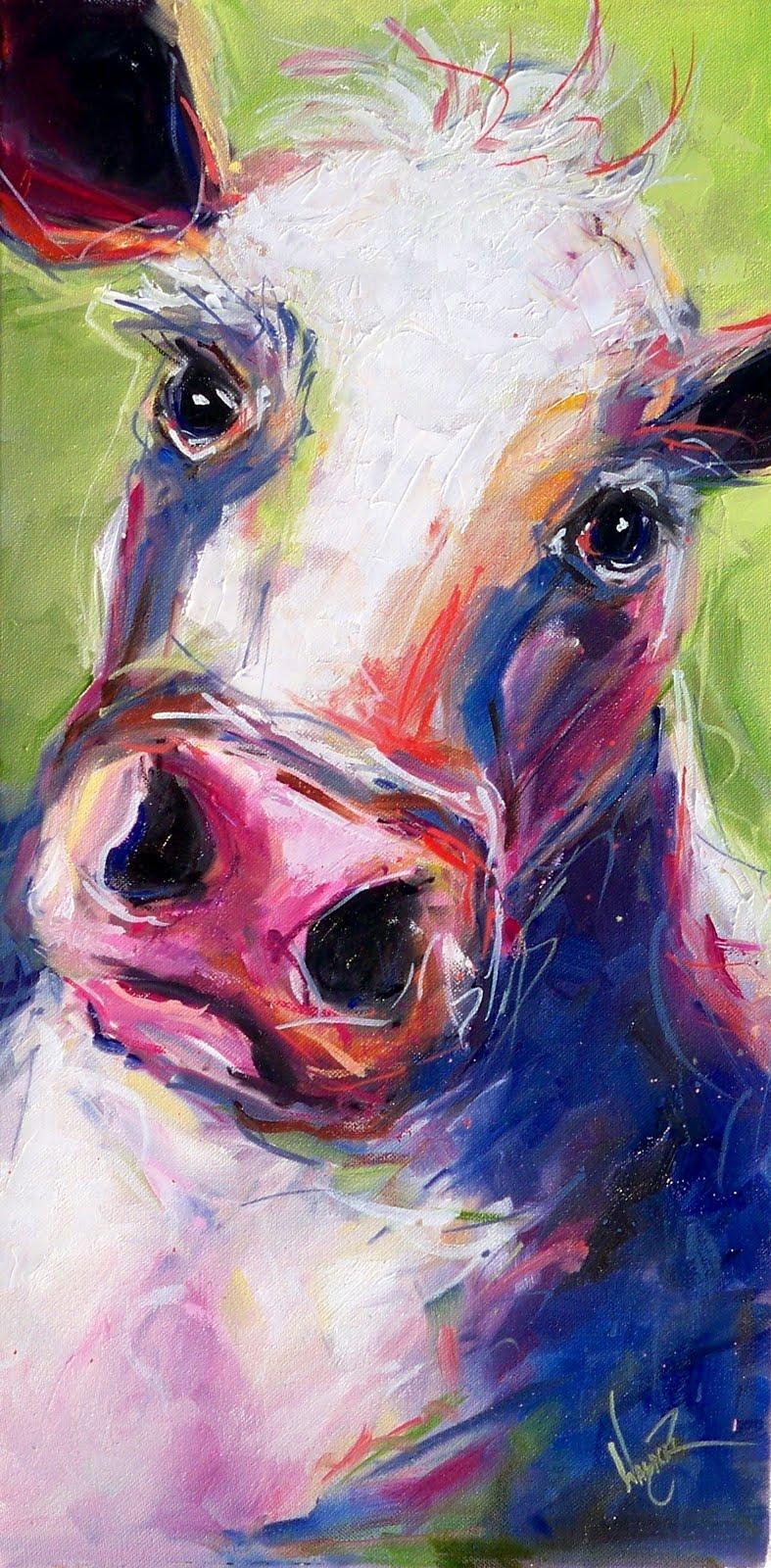 """""""FUN CONTEMPORARY HAPPY COW"""" original fine art by Olga Wagner"""