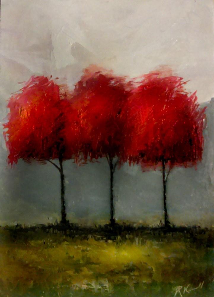 """Three Red Trees"" original fine art by Bob Kimball"
