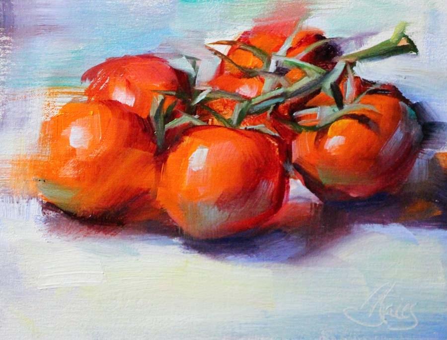"""Tomatoes on the Vine"" original fine art by Pamela Blaies"