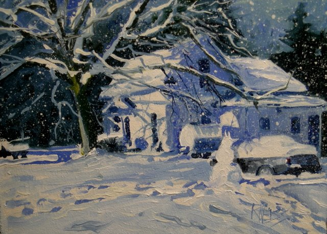 """Snowed In   winter landscape, oil painting"" original fine art by Robin Weiss"