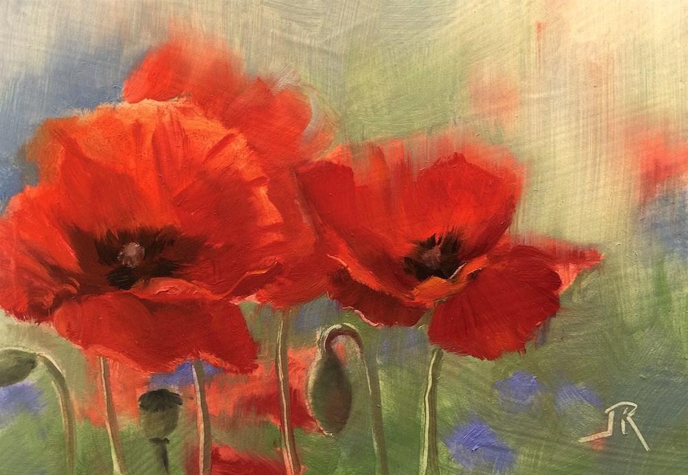 """""""Poppy Love"""" original fine art by June Rollins"""