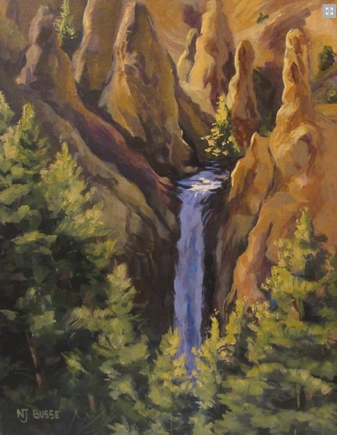 """Original Yellowstone Landscape Painting Tower Falls at Yellowstone  by Colorado Artist Nancee Jean"" original fine art by Nancee Busse"