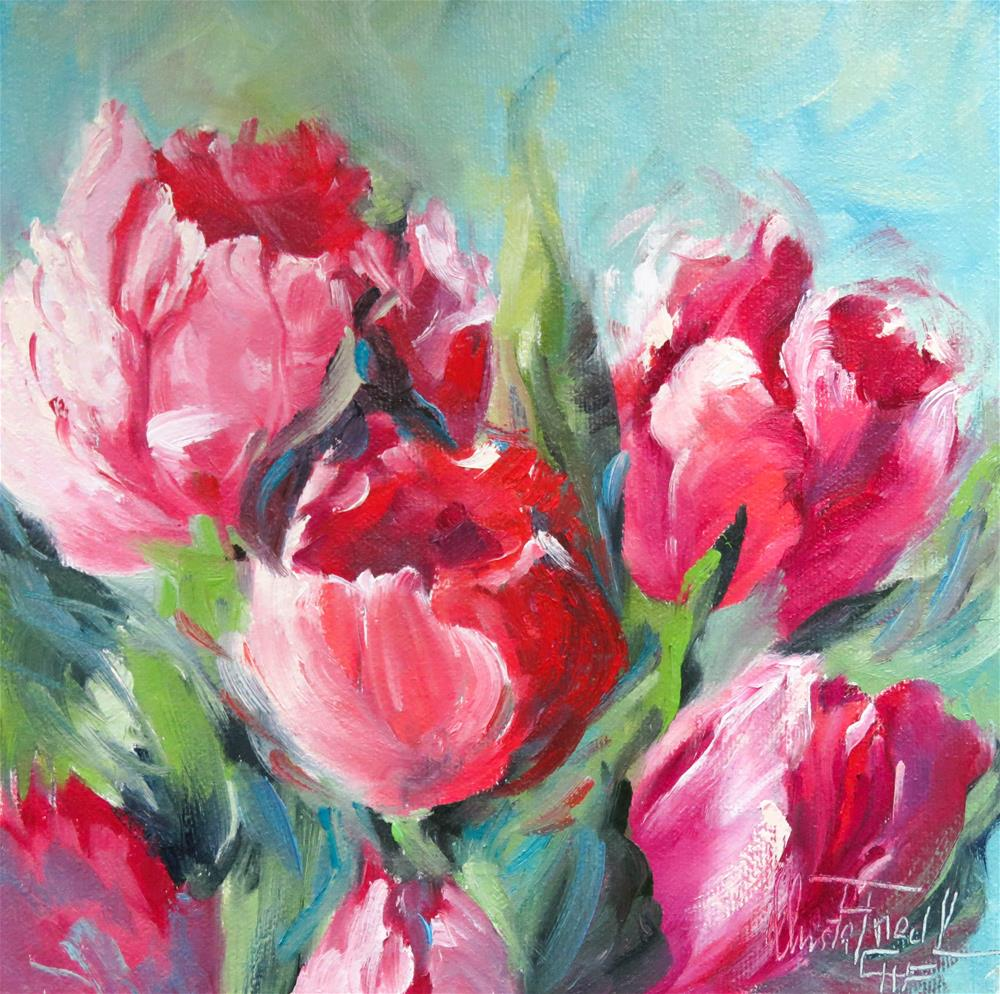"""Red and Blue"" original fine art by Christa Friedl"