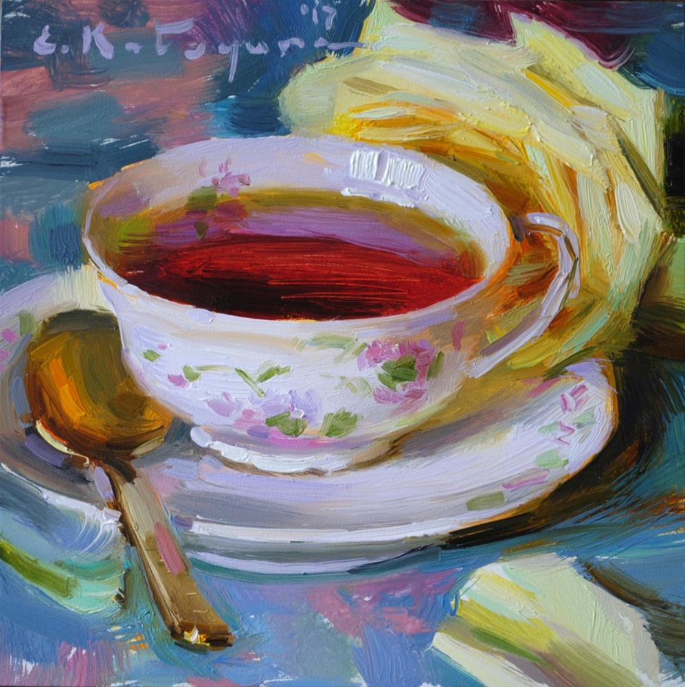 """Tea and Rose"" original fine art by Elena Katsyura"