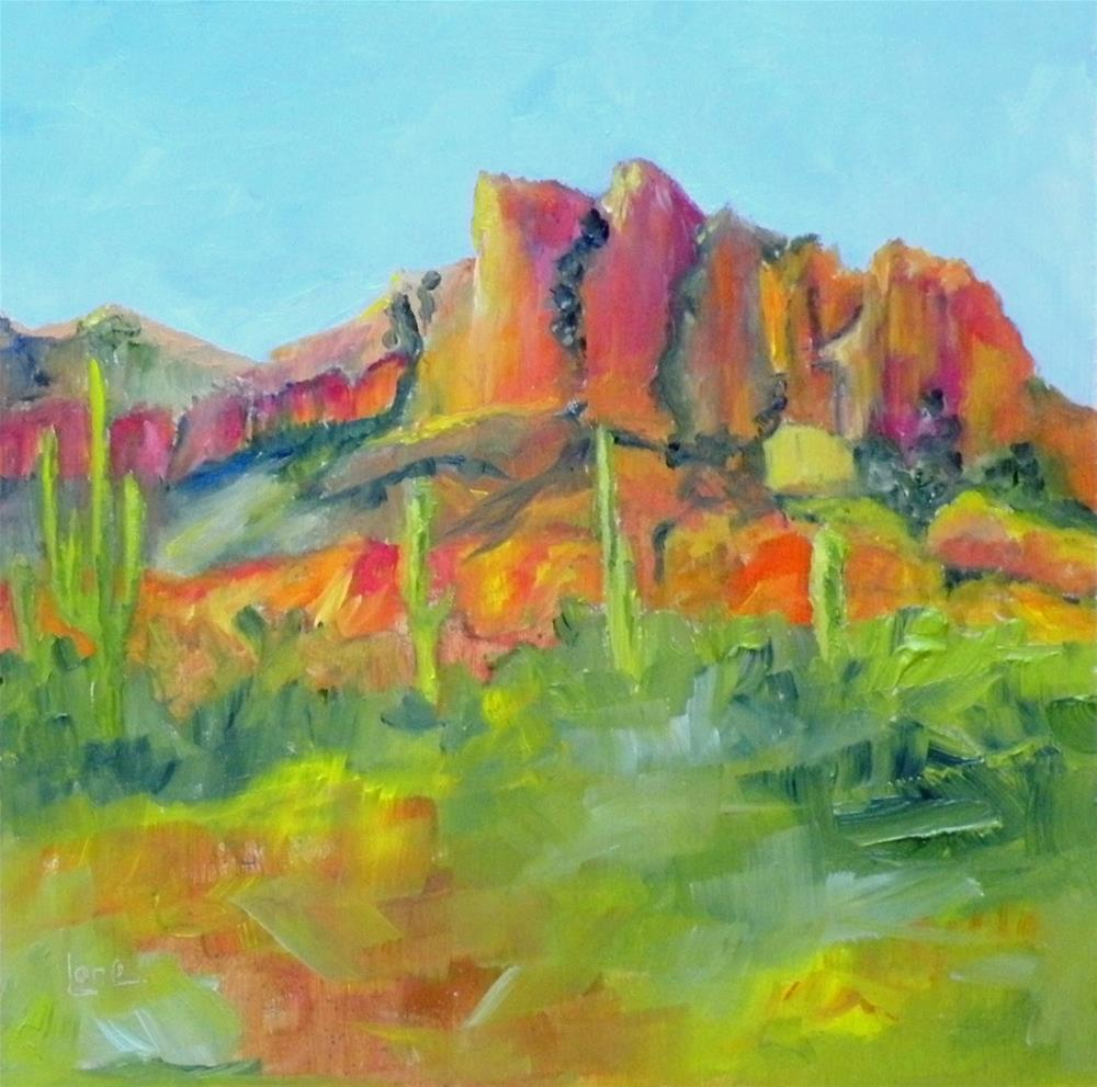 """SUPERSTITION MOUNTAIN SUMMIT © SAUNDRA LANE FINE ART"" original fine art by Saundra Lane Galloway"
