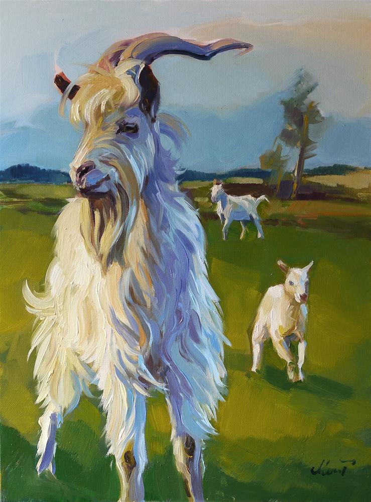 """goat's family"" original fine art by Beata Musial-Tomaszewska"