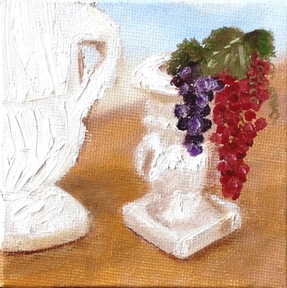 """Urns and Grapes  brown"" original fine art by Joy McMicken"