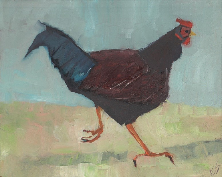 """Chicken Trot"" original fine art by Elizabeth See"