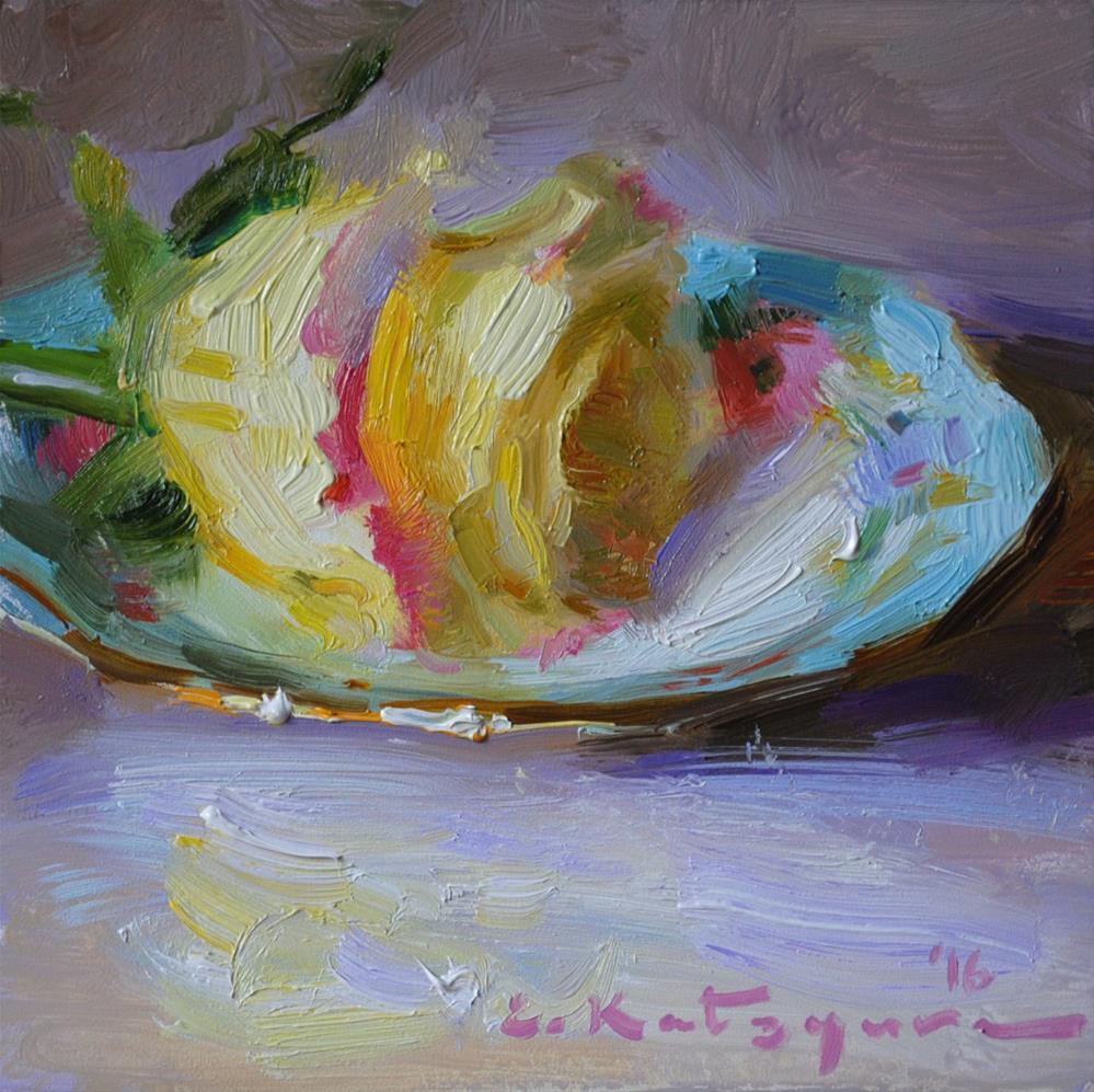 """Yellow Rose on Blue Plate"" original fine art by Elena Katsyura"