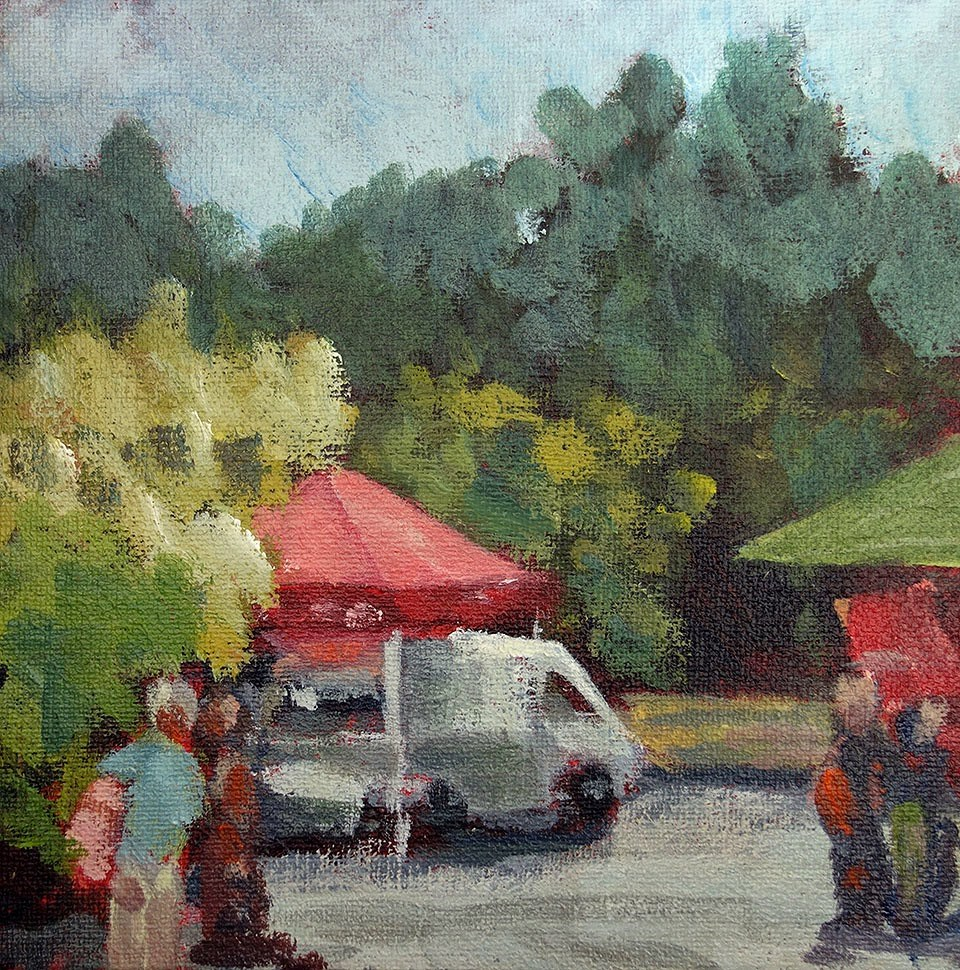 """Cheese at the Market"" original fine art by J. Farnsworth"