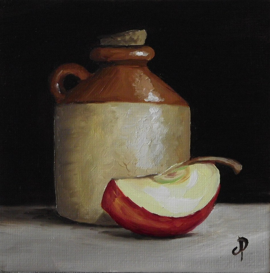 """Cider bottle with apple slice"" original fine art by Jane Palmer"