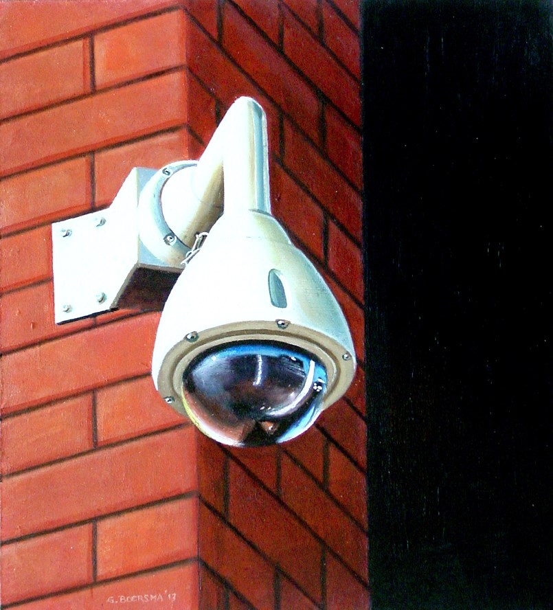 """Security Camera 22- Still Life Street Scene Painting Of CCTV Surveillance Video Camera"" original fine art by Gerard Boersma"