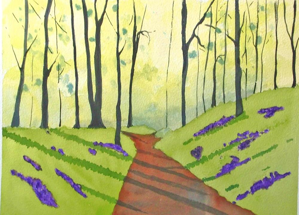 """Patches of Blue Bells"" original fine art by karen richardson"