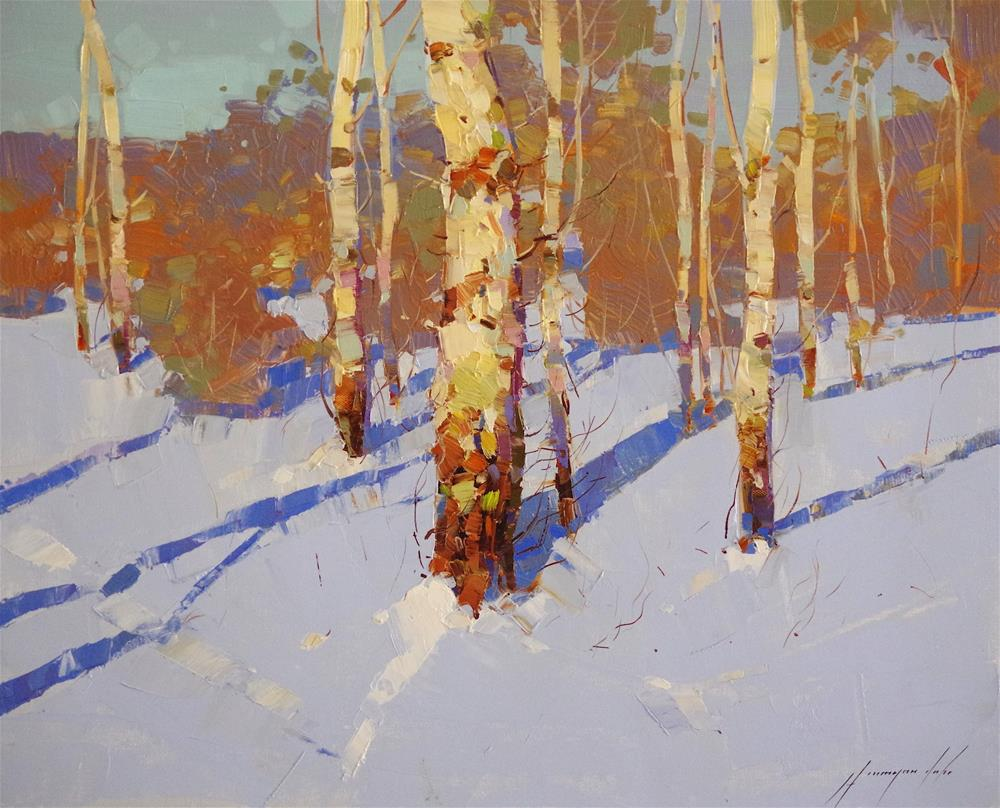 """Winter, Landscape oil painting, impressionism, made by palette knife"" original fine art by V Yeremyan"