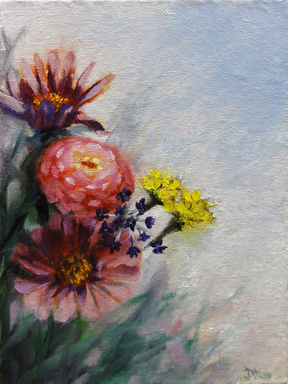"""Zinnias and Marigolds"" original fine art by Dalan Wells"
