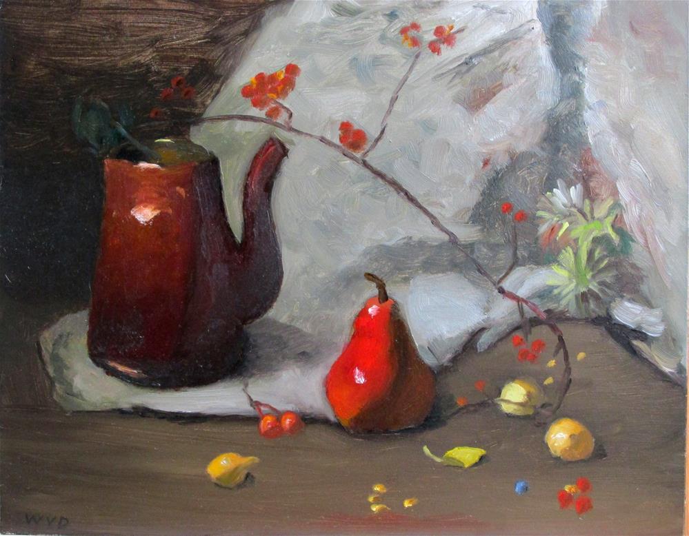 """""""Copper Tea Pot & Red Pear"""" original fine art by Will Dargie"""