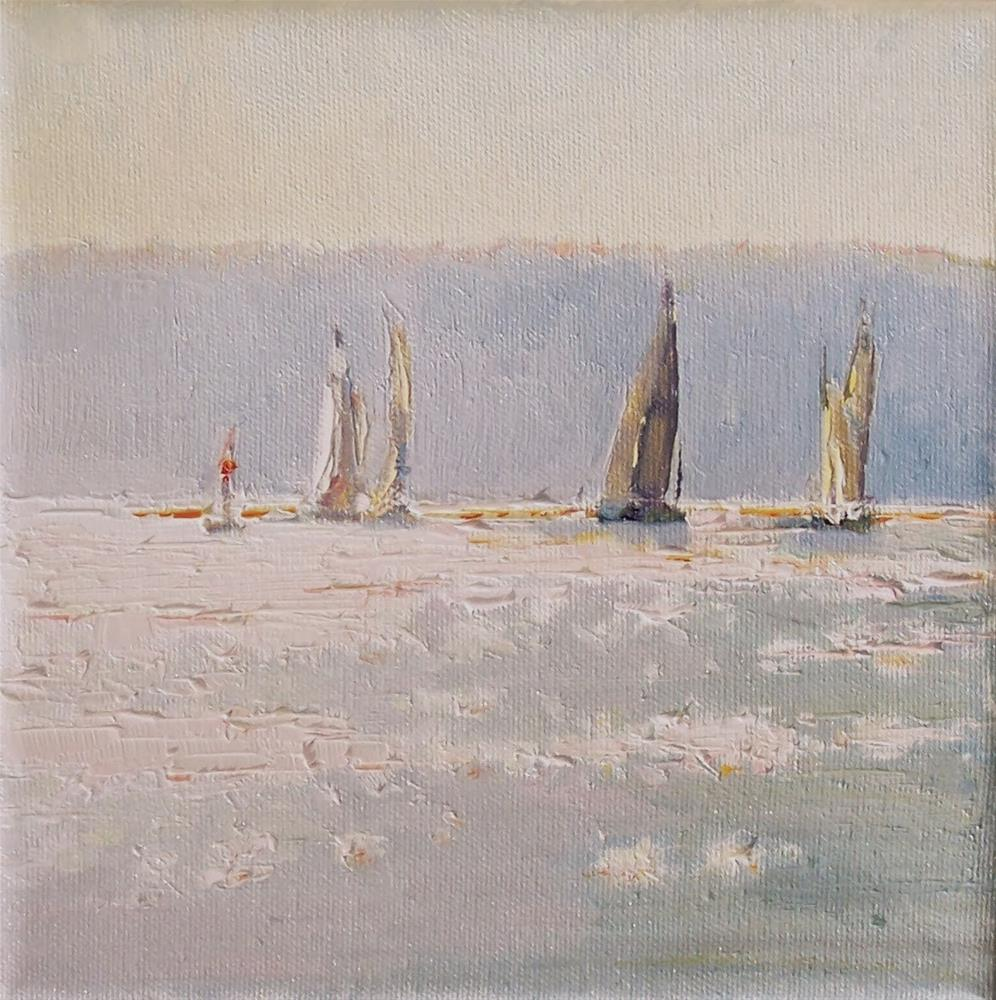 """Evening Sail Boat Race,sea scape,oil on canvas,6x6,price$300"" original fine art by Joy Olney"