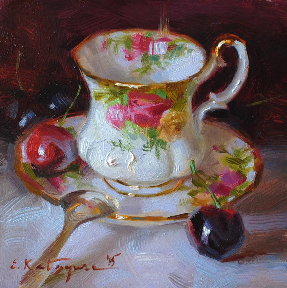 """Country Rose Teacup"" original fine art by Elena Katsyura"