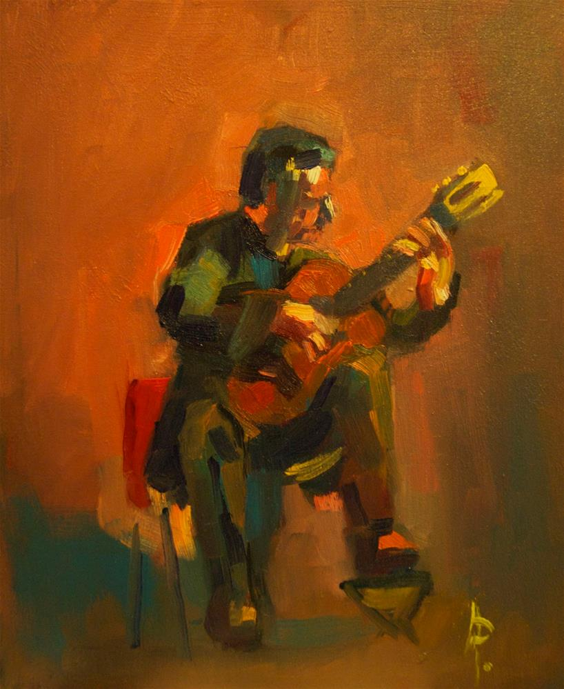 """Classical Guitarist"" original fine art by Andre Pallat"