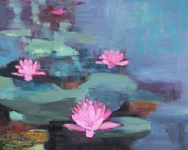 """Lily Pond, Landscape Art Painting Lily Pond IV by Colorado Artist Susan Fowler"" original fine art by Susan Fowler"