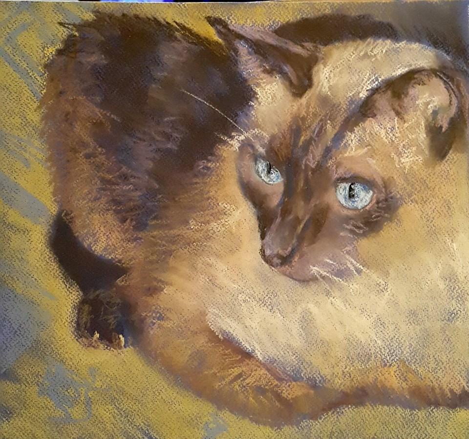 """Yellow and blue"" original fine art by Rentia Coetzee"