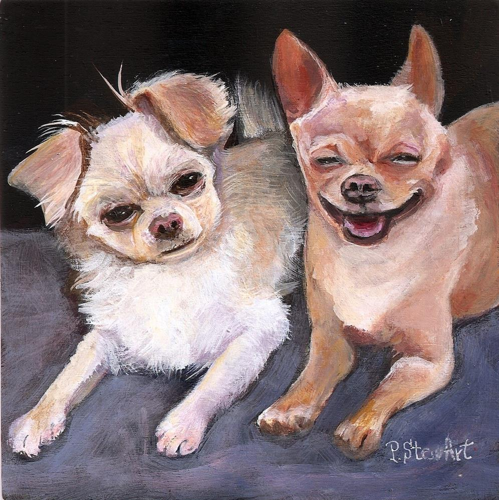 """Pet Portrait 6x6 inches Two Chihuahuas Acrylic on Wood panel Penny Stewart"" original fine art by Penny Lee StewArt"