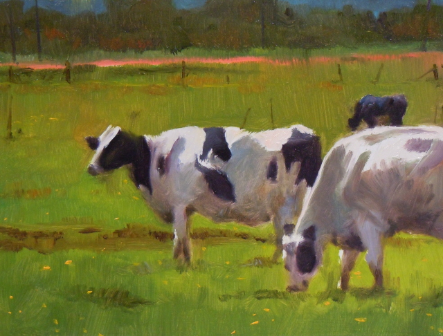 """Skagit Cows  oil landscape with cows"" original fine art by Robin Weiss"