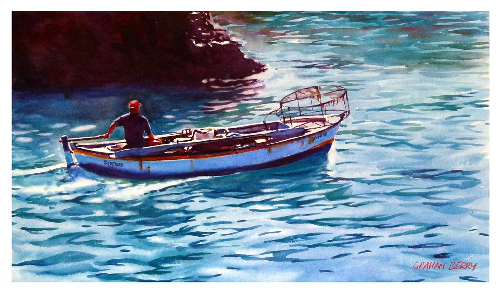 """""""Back with his catch."""" original fine art by Graham Berry"""
