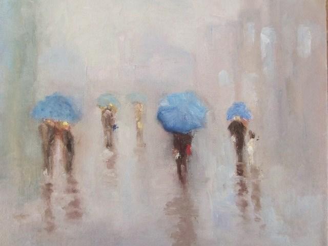 """Good time for umbrellas"" original fine art by Astrid Buchhammer"