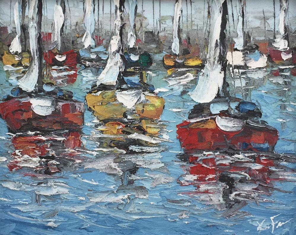"""City Harbor II"" original fine art by Ken Fraser"