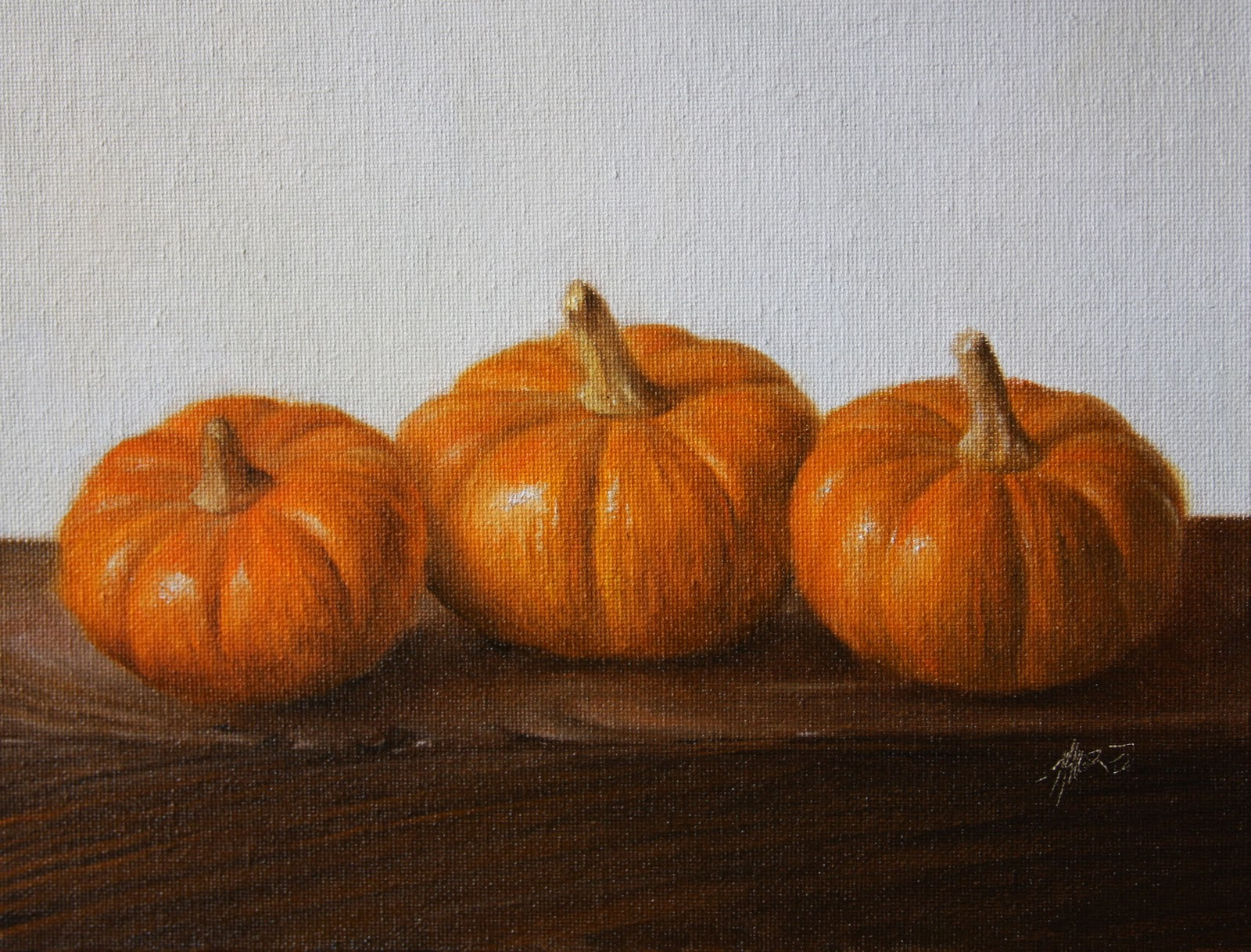 """Three Pumpkins"" original fine art by Jonathan Aller"