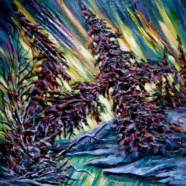 """Aurora Borealis Impasto"" original fine art by Jackie Irvine"