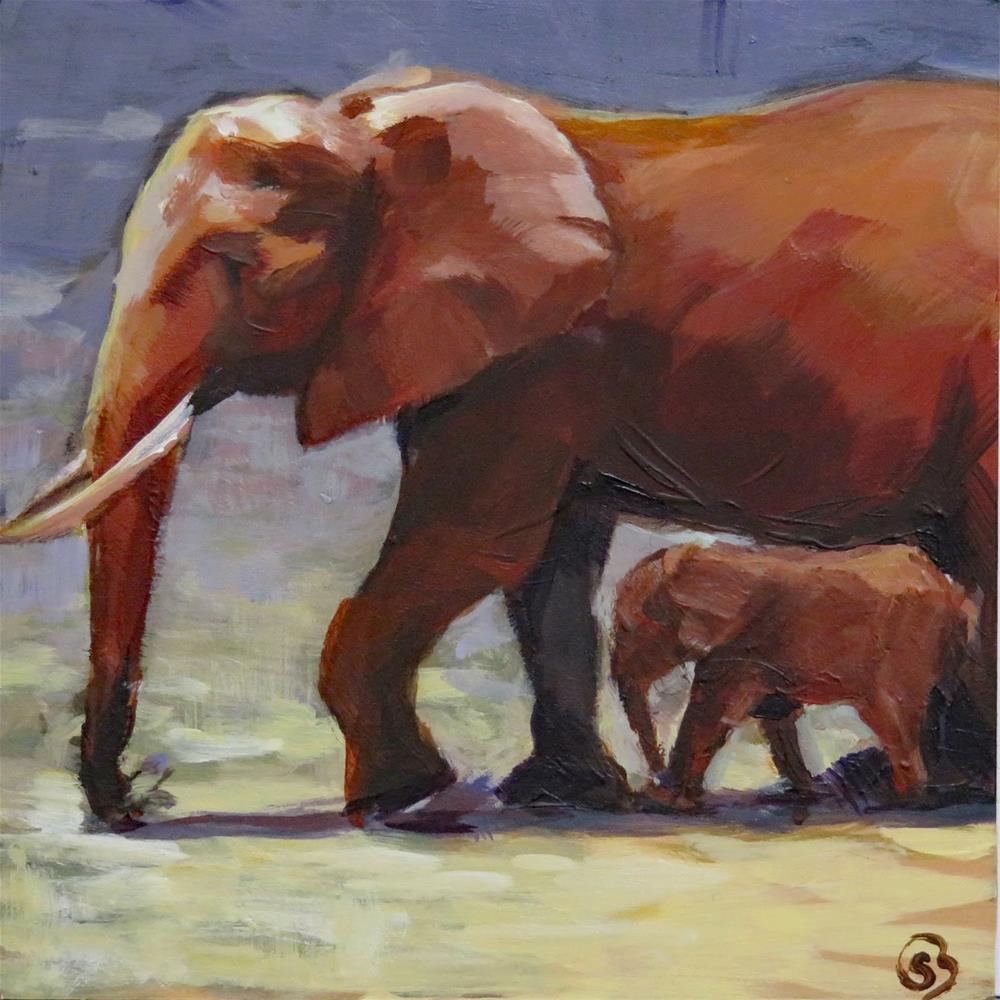 """Strolling With Mom"" original fine art by Shari Buelt"