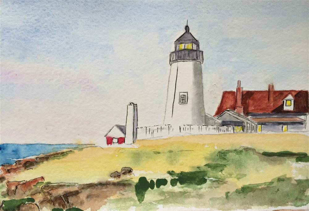 """Pemaquid Light  6 x 9 SOLD"" original fine art by Nancy Beard"